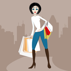 Vector illustration. Shopping.