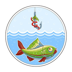 Fishing. Fish in water and fishhook. Eps10 vector
