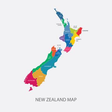 New Zealand Map Color regions flat design illustration vector