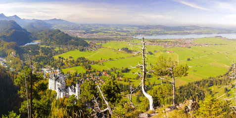 Wall Mural - Panorama Landschaft in Bayern mit Schloss Neuschwanstein
