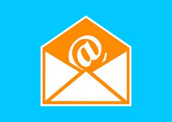 Orange envelope icon on blue background