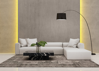 Contemporary grey concrete living room with hidden light