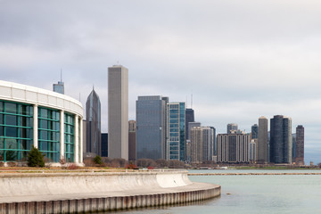 Fotomurales - Chicago Skyline and Shedd Aquarium