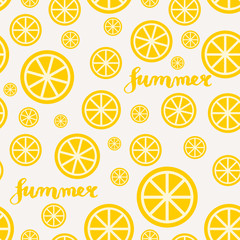 Lemon Slices Summer Seamless Pattern