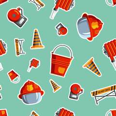 Color vector seamless pattern firefighter equipment. Flat icon b