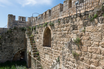 Jerusalem old city walls view during the Ramparts Walk
