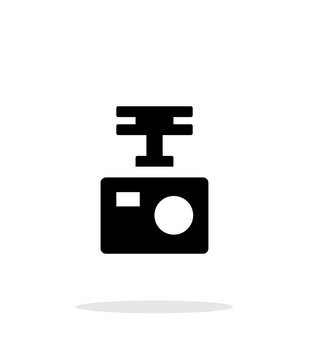 Portable drone camera simple icon on white background.