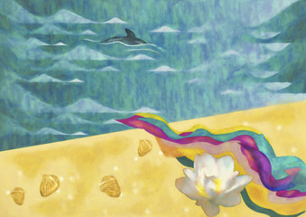 Summer background. Watercolor paiting