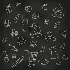 Set of shopping, products, goods elements
