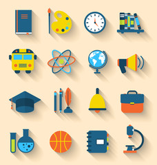 Illustration Set of Education Flat Colorful Icons with Long Shad