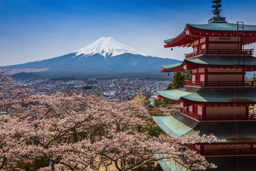 Fotobehang Japan Red pagoda with Mt. Fuji as the background