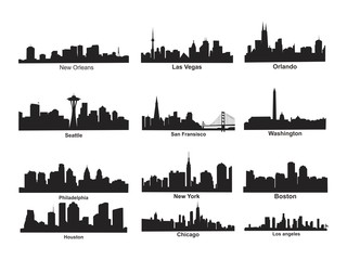 US City Skyline Silhouette