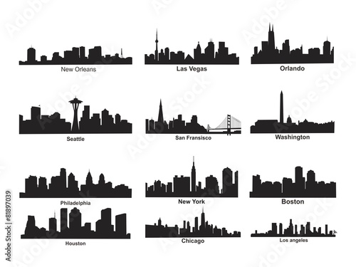 us city skyline silhouette stock image and royalty free vector