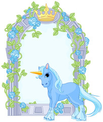 Unicorn close to flower frame
