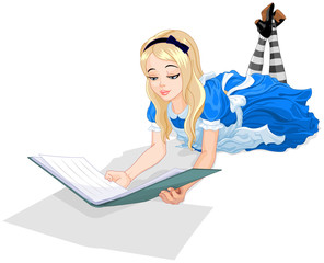 Canvas Prints Fairytale World Alice reading a book