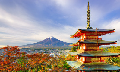 Fototapete - Mt. Fuji with Chureito Pagoda at sunrise, Fujiyoshida, Japan