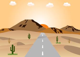 砂漠の道路 夕日