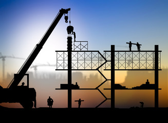 silhouette construction worker on construction site