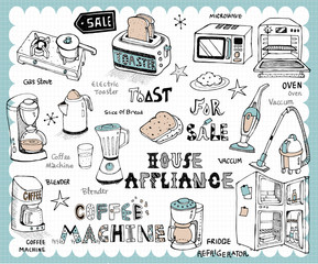Hand drawn home appliance set