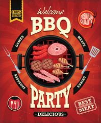 Vintage BBQ party menu poster design