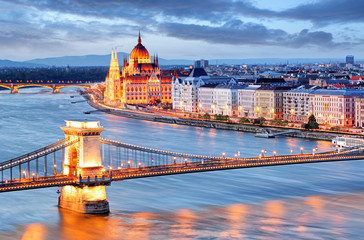 Printed roller blinds Budapest Budapest with chain bridge and parliament, Hungary