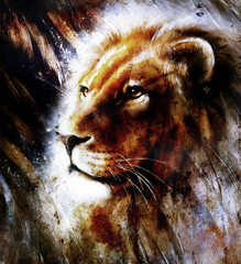 lion portrait on abstract background with feather pattern, rust