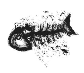 doodle fishbone, illustration art design element
