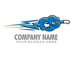 cloud speed lightning logo image vector