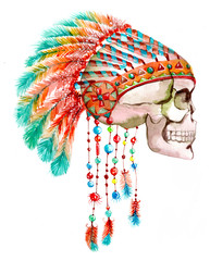 Indian tribal  hat and skull