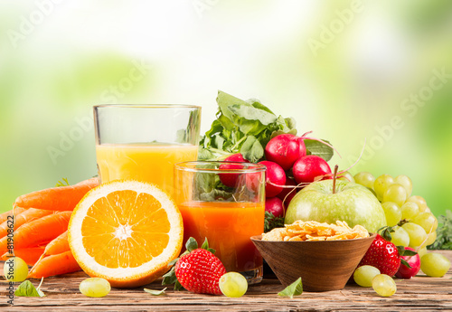 Fresh juice orange and carrot, Healthy drink on wood, breakfast