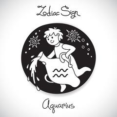 Aquarius zodiac sign of horoscope circle emblem in cartoon style
