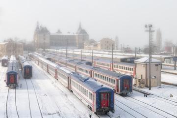 Haydarpasa Train Station On A Snowy Day, Istanbul, Turkey
