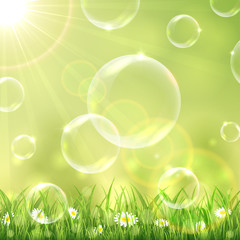 Nature background and bubbles