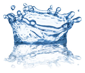 Splash of water in the shape of crown. Clipping paths.