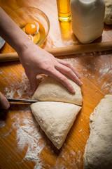 Baking cake in kitchen - dough recipe ingredients