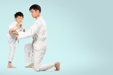Karate. Teacher and the Student
