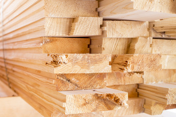 stack of wood boards  for construction or industrial work