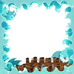 Cartoon marine frame - illustration for the children