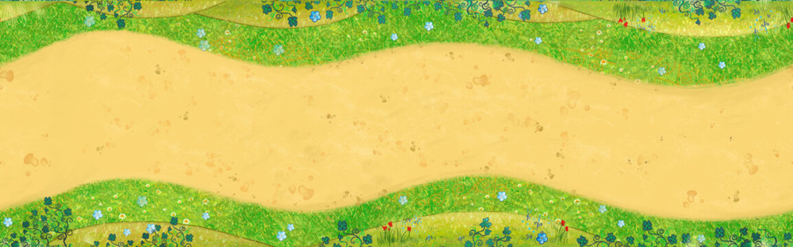 Path in the grass and flowers.Background, illustration.