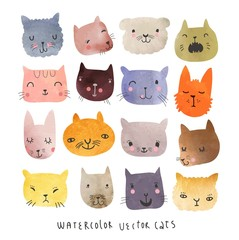 Cute cats watercolor vector