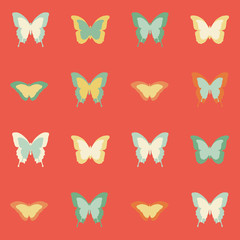 Seamless amazing vintage butterfly colorful pattern