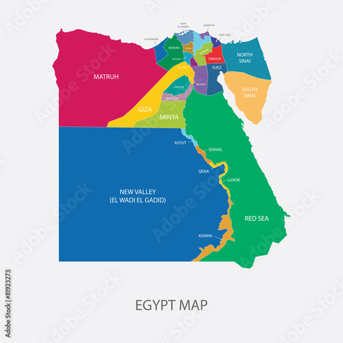 EGYPT MAP With Regions Flat Design Illustration Vector Stock - Map of egypt vector