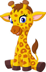 Cartoon baby giraffe sitting