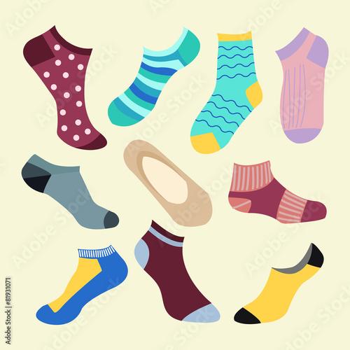 Different types of socks- Illustration - Different Types Of Socks- Illustration