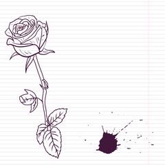 Ink drawing rose