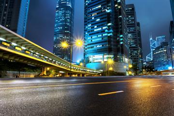 illuminated buildings and urban road