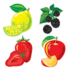 ripe fruit and slices of fruit, berries on a white background