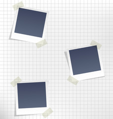 Photo frames for infographic on paper sheet in a cage