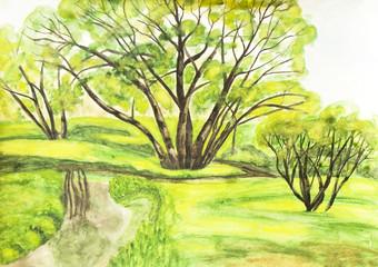 Summer landscape, watercolours