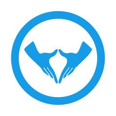 Icono redondo feminismo azul